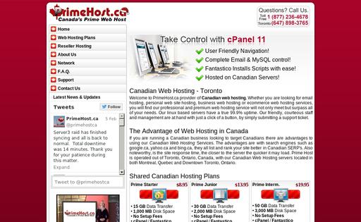Prime-Host webhosting services