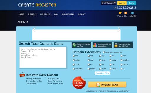 Create Register - Web Hosting
