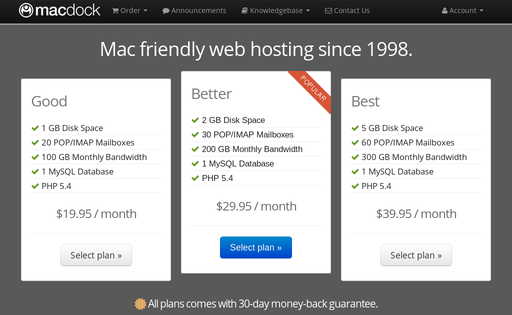 MacDock - Mac web hosting